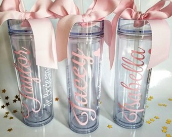 Personalized Tumbler, 1 Bridesmaid Gift, Wedding Favor, Monogram Tumbler, Bridesmaid Tumbler, Gifts for Bridesmaids