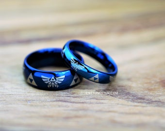 2 Rings, Top Quality Tungsten Wedding Ring Set, Deep Ocean Blue, His and Hers 8mm & 4mm Dome Legend of Zelda Design