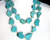 Double Strand Turquoise Statement Necklace - Turquoise Jewelry - Stone Statement Necklace