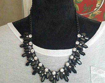 Statement Necklace Black Crystal Bib Necklace Weddings BRIDESMAIDS Proms BoHo Chic chunky necklace