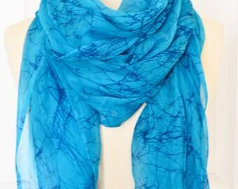 Sea blue scarf.Hand made chiffon scarf.Batik scarf.Long neck scarf.