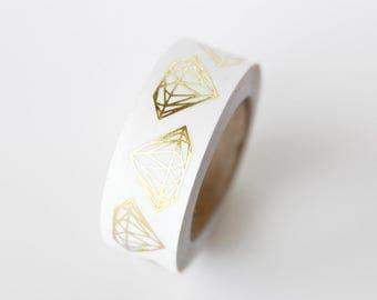 Geometric Diamond Jewel Gold Foil Washi Tape Sample