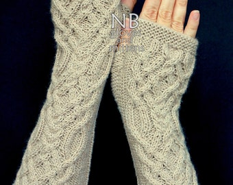 Hand Knitted Fingerless Gloves,  Beige, Long,  Clothing And Accessories, Gloves & Mittens, For Women, Christmas, READY TO SHIP