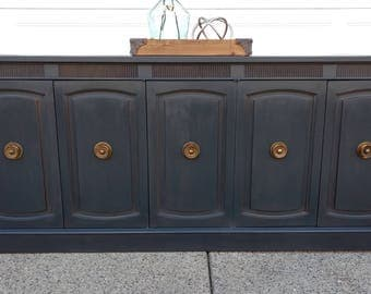 Sold to Adam - DREXEL - Mid-Century Modern Black Buffet / Sideboard or Media Console
