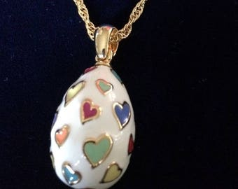Joan Rivers Egg Necklace - White with Heart Design - S2067