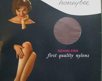 Nylon Stockings Seamless Smokeglow Size 9 1/2 Hazel Bishop Honeybee Micromesh New Vintage Stockings Garters Needed