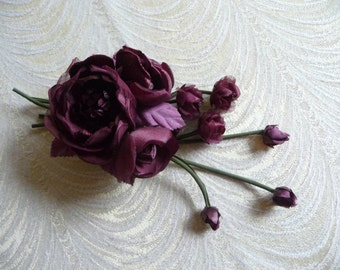 Gorgeous Silk and Velvet Wine Burgundy Roses with Dangling Buds Plum Handmade for Holiday Corsage, Gown Brooch, Sash, Hat, Millinery Flowers