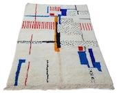 7'X5' ft / Handmade Moroccan rug Beni Ourain 100% Wool / Azilal Rug / Boucherouite Rug / Beni Ouarain / Moroccan Kilim