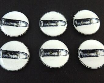 """6 Bullet Buttons.  Handmade Buttons. Bullet or Gun Shell Buttons.  3/4"""" or 20 mm ."""