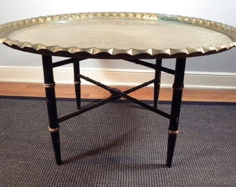 Vintage Mid Century Brass Moroccan Turkish Folding Tea  Coffee Table