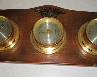 Vintage Springfield Weather Station w/eagle Barometer/Thermometer Home Decor