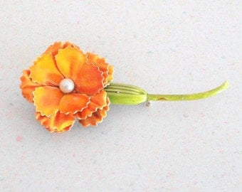 Original by Robert Signed Vintage Costume Jewelry Brooch Faux Pearl Orange Enamel Flower Lapel Pin Collectible