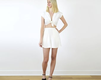 Ava White Two Piece Crop Top and Culottes Set. Womens Flared Shorts with Vintage Style Tie Front Top. White Outfit Summer Clothes, Beach Set