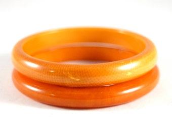 Bakelite Bangle Set - Snake skin Pattern Spacer - Cream Corn Yellow Orange - Vintage Catalin Jewelry -  Spacer Bracelet - Tested