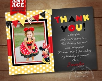 Minnie Mouse Thank You Card, Red Yellow Polka Dot Minnie Thank You Note, Minnie Mouse Dotted Printable Thank You matches Birthday Invitation