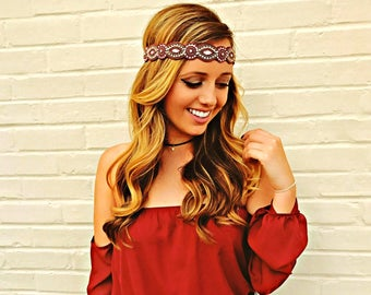 Beaded Headband - Adjustable Headband - Crystal Headband - Gift for women - Hippie Headband - Photo Prop - Gatsby Headband - FSU headband