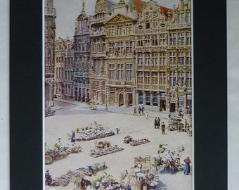 1920s Antique Belgian Print of Grand Place, Available Framed, Belgium Art, Market Square Picture Historic Brussels Decor European Union Gift