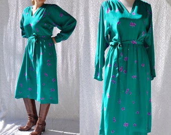 80s Dess by Flora Kung Disegni | Silk Floral Midi Dress. 80s Silk Shirtdress. Boho Hippie Party Dress. Retro Midi Dress. Mod Shirtdress | L