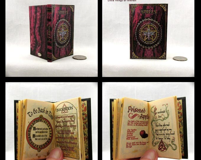 BOOK OF SHADOWS Spell Book in 1:3 Scale Readable Illustrated Book American Girl Doll Accessories 18 inch Ag Doll 1/3 Scale