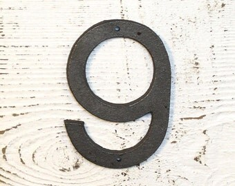 9 - 5 Inch Cast Iron Metal Number 9 WITH holes for mounting