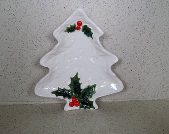 Small Lefton Holly Cookie Plate