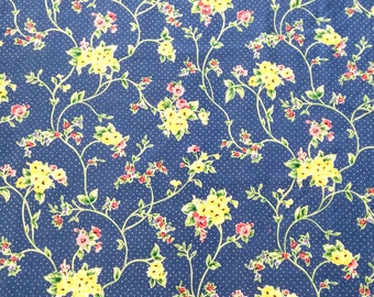 Millbrook Waverly Fabric French Blue Yellow Flowers By the Yard