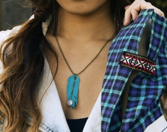 Recycled suede cut feather necklace brass ball chain assorted colors glass stone beads boho chic bohemian tribal gypsy festival concert eco