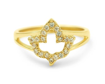 14k Gold Plated Ivy Leaf Ring with CZs / Fashion Jewelry / Rings / Statement Rings/ Fashion Accessories / Gifts for Her / Ivy Leaf Ring