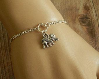 Silver Elephant Bracelet, Elephant Charm Bracelet, Silver Bracelet, Adjustable Bracelet, Tibetan Elephant Bracelet, Lucky Elephant Gift