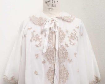 Vintage White Ecru Bed Jacket Cape