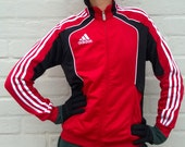 Red vintage ADIDAS workout jacket, neon retro tracksuit, 90s windbreaker, outdoor activewear, women running jacket, vintage jacket, M/S