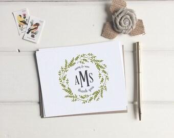 Custom Monogram Thank You Cards. Wedding Monogrammed Thank You Card Set of 10. Thank You's Note Cards. Wedding gift Custom. Monogrammed card