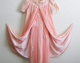Mad Men Pink Chiffon Nightgown Peignoir Set Gossard Artemis Small
