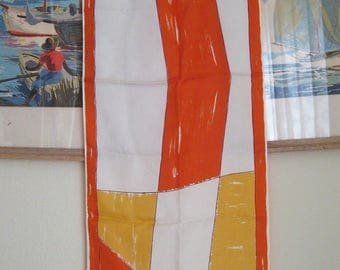 VERA Mod LONG Scarf Orange Yellow White Abstract Design Japan
