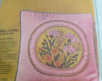 "Pink Yellow Crewel Pillow Kit Flowers Wool Yarn Floral 14"" x 14"""