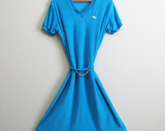 Lacoste Blue Terry Cloth Dress Coverup Large - Poolside Cover Up 12 - David Crystal