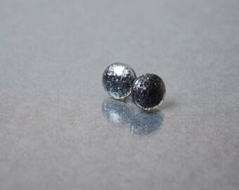 silver black earrings steampunk jewelry gothic stud earrings gift sister sparkly earrings