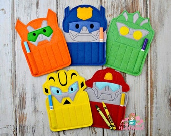 Rescue bots inspired crayon holder, rescue bot birthday party, transformer birthday party, party favors , crayon rol