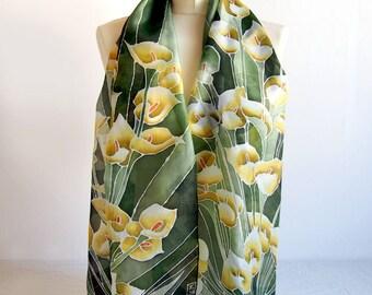 Long Silk Scarf Calla Lily scarves -  hand painted scarf - silk scarf - dark green scarf with Calla - yellow Zantedeschia scarf