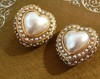 Vintage Pearl Heart Earrings Clip Ons Gold Tone Faux Pearl Heart Clip On