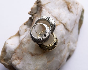 Crescent Moon Ring Eclipse Textured Twilight Sterling silver