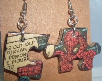 Spiderman Comic Book Recycled Puzzle Dangle Earrings