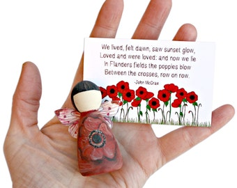 Poppy Remembrance Gifts Fairy - Poppy Gift - Army Gift - Remembrance Gift - Poppies - Poppy Fairy - Peg Doll - Remembrance Army Gift