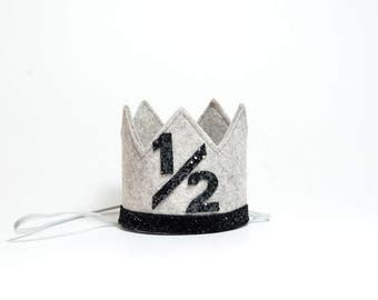 Half Birthday Boy Crown || Half Birthday Boy Birthday Hat || Boy Cake Smash || Heather Grey + Black