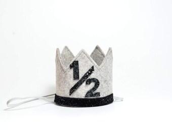 Half Birthday Boy Crown || Boy Birthday Hat || Boy Cake Smash || Heather Grey + Black