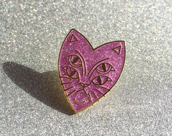 Four Eyes Cat Enamel Pin Badge - Pink Glitter & Gold Limited Edition Lapel/Hat Pin Mutant Cat Tattoo
