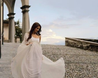 Edwardian wedding dress, ivory silk chiffon wedding dress, chiffon wedding gown, beach wedding dress, bohemian wedding dress