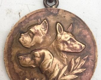Boxer Dog Pendant/ Bronze Art Medal/ animal fob/ France Belgium? 1933 ornate cast metal canine medallion LA eb