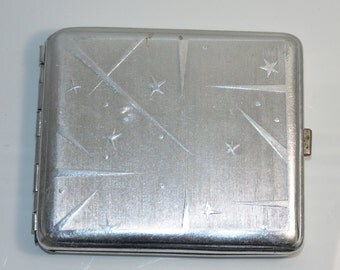 G15 Vintage Estate 1960's Russian Soviet USSR СССР Cigarette case Stars Space Comets Vostok Gagarin Memorabilia Ready to Use Gift For Him