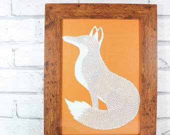 HALF PRICE!! - PRINT - Mr Fox print from original papercut by QueenieDot